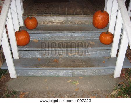 Pumkins On Steps