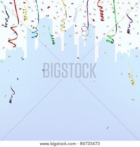 Celebration background template with confetti.