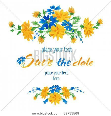 Vector hand drawn watercolor colorful  floral card with summer flowers and inscription save the date.  Isolated on white background. Copyspace for your text.