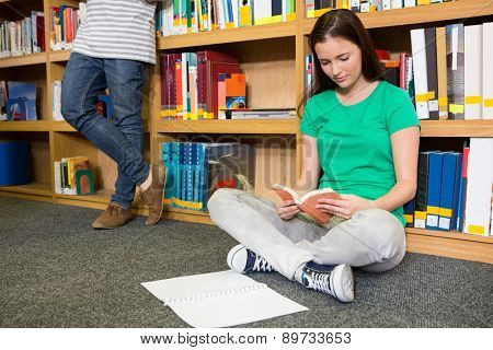 Pretty student sitting on floor in library at the university