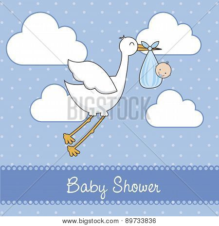 Blue Baby Shower Card With Stork And Baby  Vector Illustration