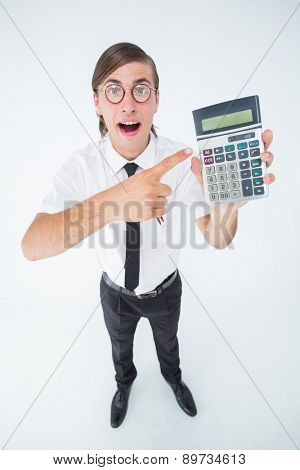 Geeky cheering businessman holding calculator on white background