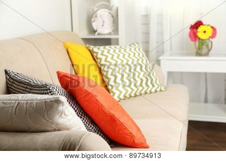Modern interior with comfortable sofa in room