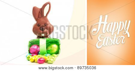 Happy easter against orange vignette