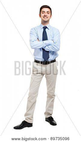 Full length businessman on white background