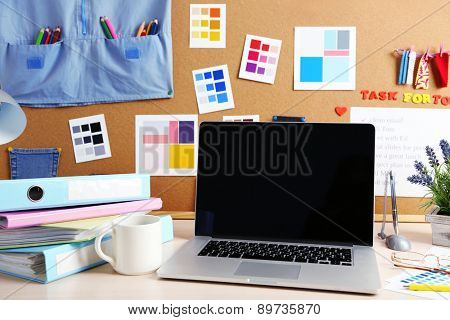 Working place of designer at home, close-up