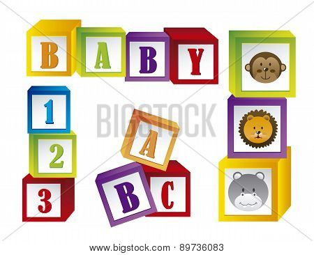 Baby Blocks With Faces Animals And Letters Vector Illustration