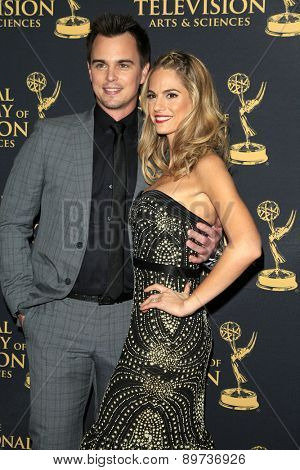 LOS ANGELES - APR 24: Darin Brooks, Kelly Kruger at The 42nd Daytime Creative Arts Emmy Awards Gala at the Universal Hilton Hotel on April 24, 2015 in Los Angeles, California