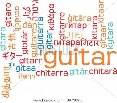 Background concept wordcloud multilanguage international many language illustration of guitar