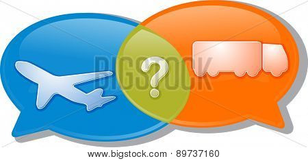 Illustration concept clipart speech bubble dialog conversation negotiation argument Air land transport modes