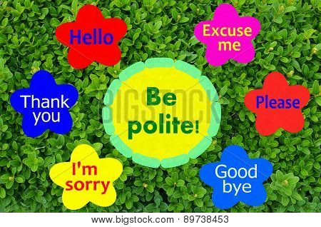 Be polite message on colorful flowers