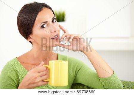 Young Caucasian Woman Touching Her Chin