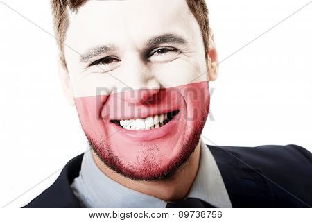 Happy man with Poland flag painted on face.