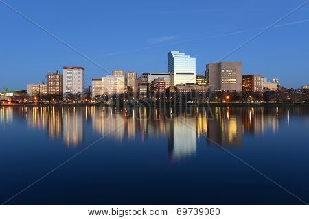 Boston West End skyline at night, USA