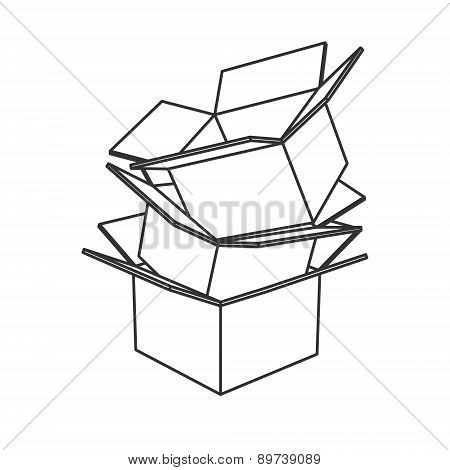Cardboard boxes icon black