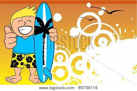 happy surfer kid cartoon background