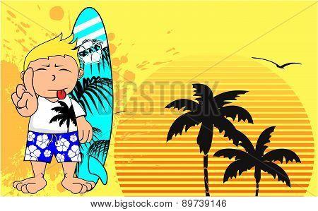 surfer kid cartoon summer background