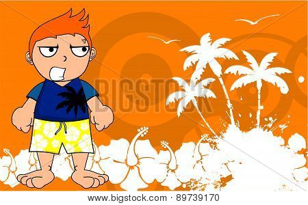 angry surfer kid cartoon background