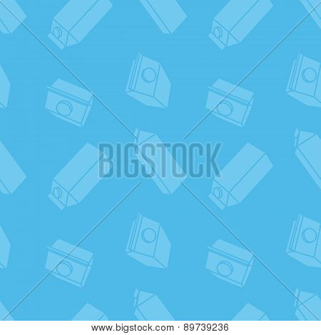 Blue seamless with milk carton in flat style