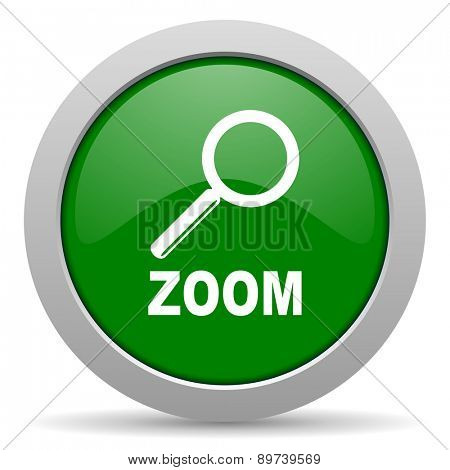 zoom green glossy web icon