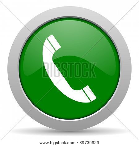 phone green glossy web icon