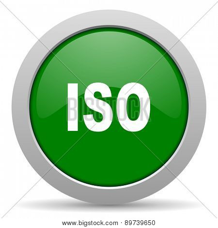 iso green glossy web icon