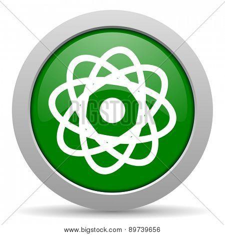 atom green glossy web icon