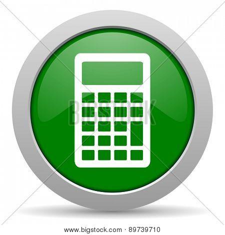 calculator green glossy web icon