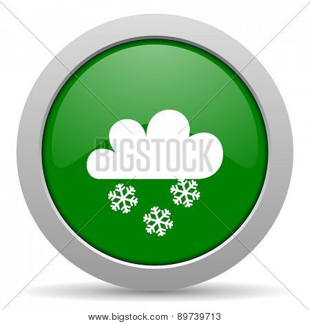 snowing green glossy web icon