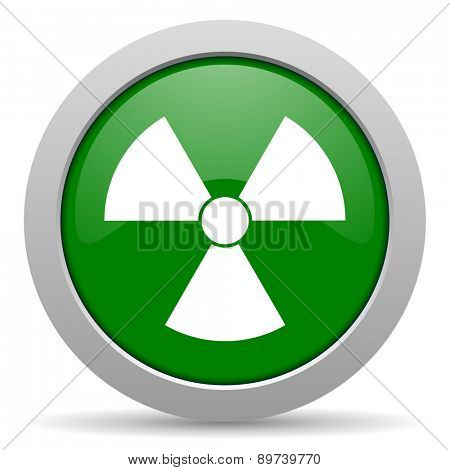 radiation green glossy web icon