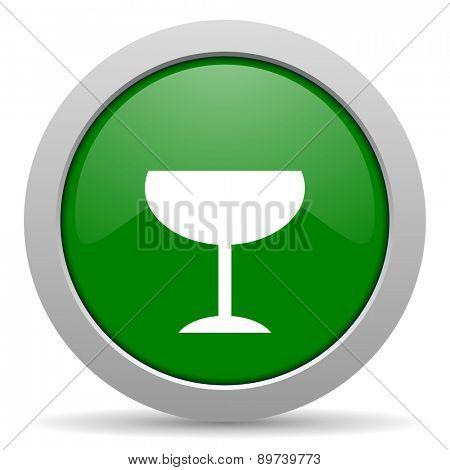 alcohol  green glossy web icon