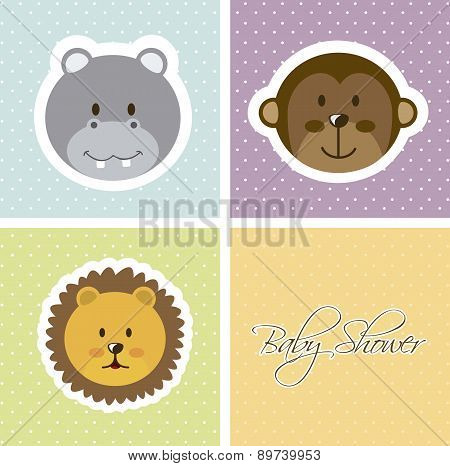 Baby Shower Card With Animals Faces Vector Illustration