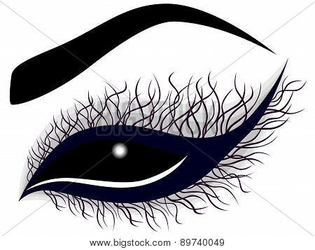 Abstract Female Eye With Long Curling Eyelashes