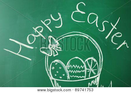 Children drawings on school blackboard background