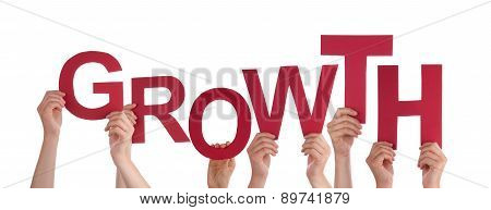 Many People Hands Holding Red Word Growth