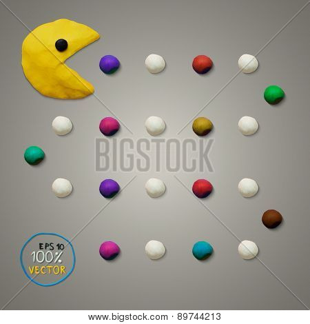 Colorful plasticine game play pacman