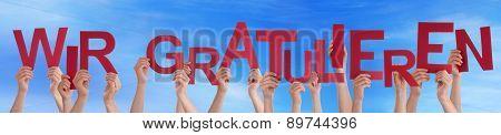 People Wir Gratulieren Mean Congratulation Sky