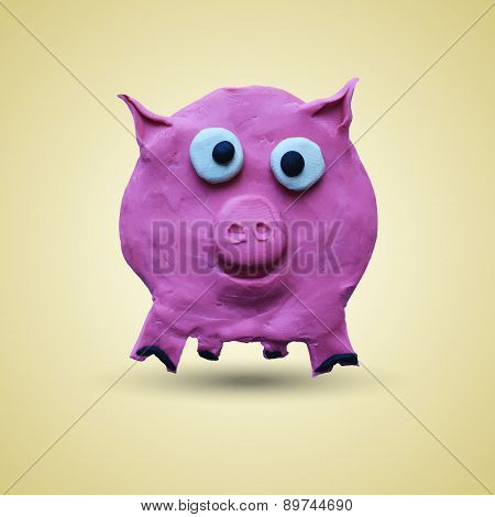 Pink pig in front view