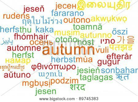 Background concept wordcloud multilanguage international many language illustration of autumn