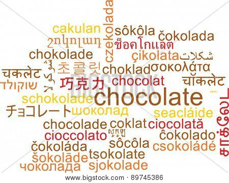 Background concept wordcloud multilanguage international many language illustration of chocolate