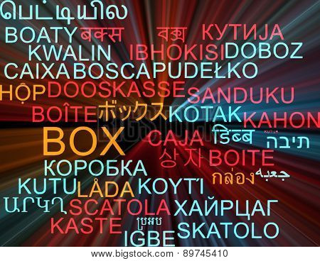Background concept wordcloud multilanguage international many language illustration of box glowing light