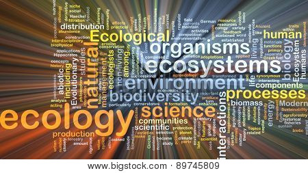 Background text pattern concept wordcloud illustration of ecology glowing light