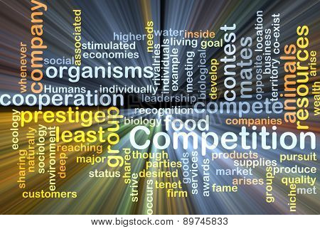 Background text pattern concept wordcloud illustration of competition glowing light