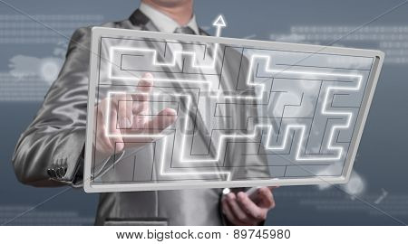 Businessman Working On Digital Screen Of Maze, Business Strategy Concept