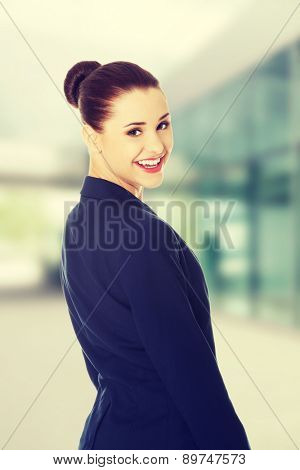 Portrait of happy young business woman.