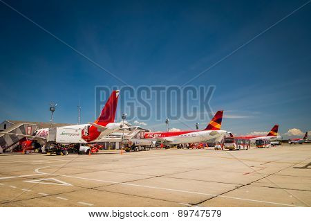 Avianca airplanes line up at international airport El Dorado Bogota Colombia
