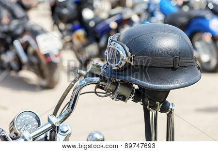 Motorcycle Helmet During The Traditional Annual Gathering Of Bikers