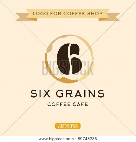 Logo for cafe coffee grains in the form of six figures trace vector icon illustration