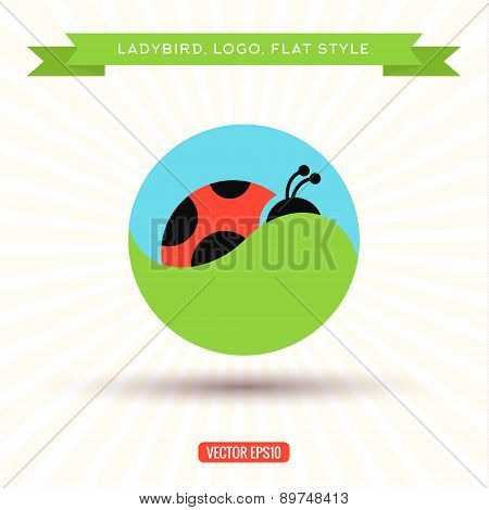 Ladybug Logo grass sky icon vector illustration