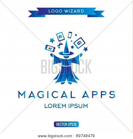 Logo magician manages gadgets, electronic equipment icon vector illustration